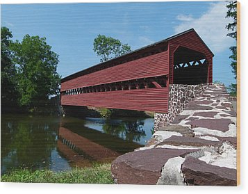 Wood Print featuring the photograph Sachs Covered Bridge by Cindy McDaniel