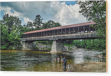 Wood Print featuring the photograph Saco River Covered Bridge  by Debbie Green
