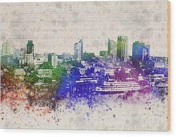 Sacramento City Skyline Wood Print by Aged Pixel