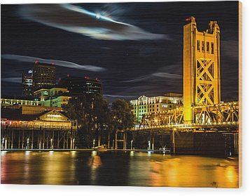 Sacramento Night Wood Print