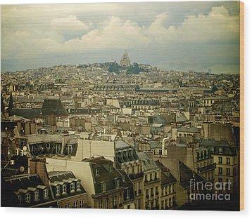 Sacre-coeur And Roofs Of Paris. France.europe. Wood Print by Bernard Jaubert