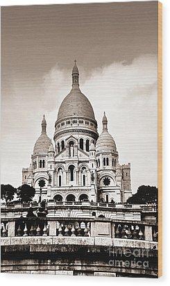 Sacre Coeur Basilica In Paris Wood Print by Elena Elisseeva