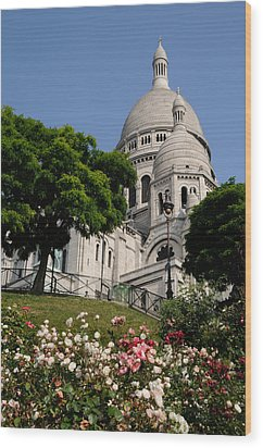 Sacre Coeur Flowers Wood Print