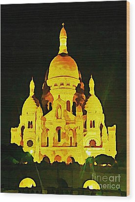 Sacre-coure Cathedral Paris  Wood Print by John Malone