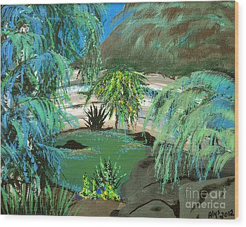 Wood Print featuring the painting Sacred Cenote At Chichen Itza by Alys Caviness-Gober