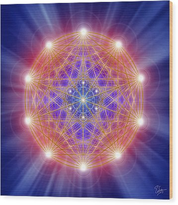 Sacred Geometry 168 Wood Print by Endre Balogh