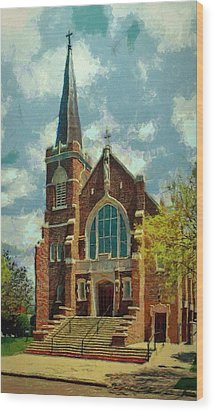 Sacred Heart Wood Print by Jeff Kolker