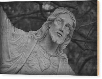 Sacred Heart Of Jesus - Bw Wood Print by Beth Vincent