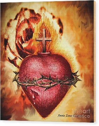 Sacred Heart Of Jesus Christ With Rose Wood Print