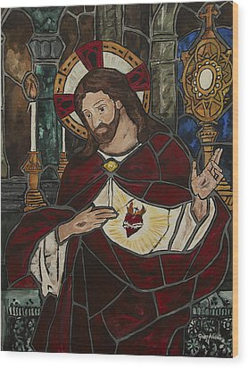 Sacred Heart Of Jesus Wood Print by Greg Willits