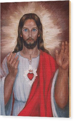 Sacred Heart Of Jesus Wood Print by Terry Sita