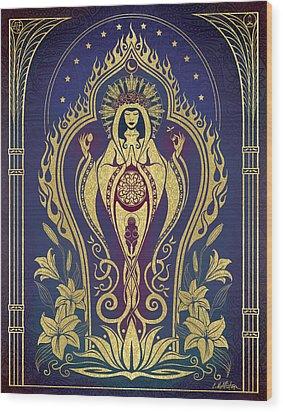 Sacred Mother - Global Goddess Series Wood Print by Cristina McAllister