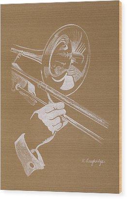Sacred Trombone Wood Print by Karen  Loughridge KLArt