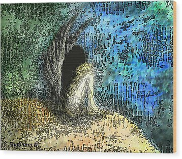 Sad Angel Wood Print by Shabnam Nassir