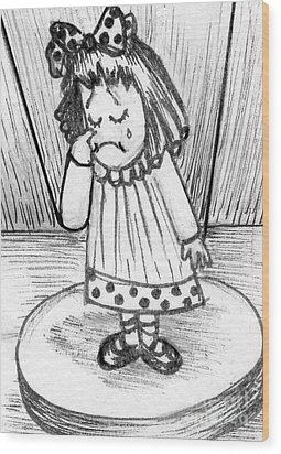 Wood Print featuring the painting Sad Little Puppet Girl by Joyce Gebauer
