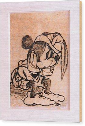 Sad Mickey Wood Print by Joseph Hawkins