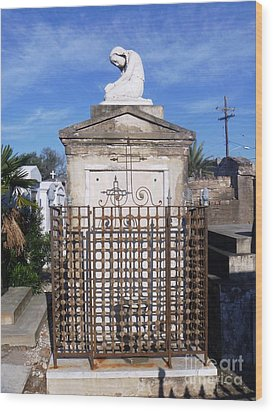 Wood Print featuring the photograph Saddest Statue Tomb by Alys Caviness-Gober