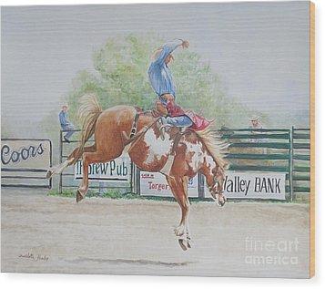 Saddle Bronc Wood Print by Charlotte Yealey