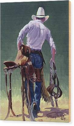 Saddle Bronc Rider Wood Print by Randy Follis