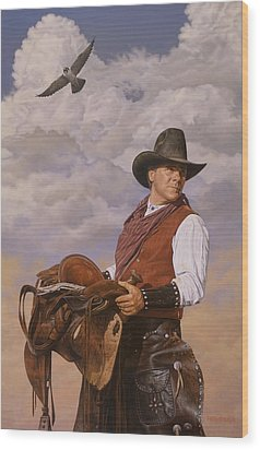 Wood Print featuring the painting Saddle 'em Up by Ron Crabb