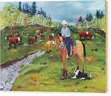 Saddle Pals Wood Print by Gail Daley