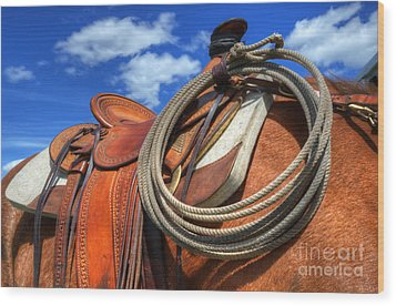 Saddle Up Wood Print by Bob Christopher