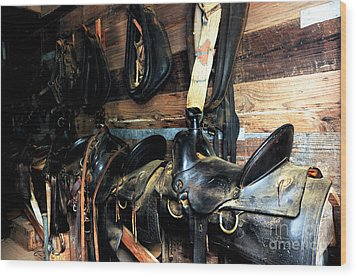 Saddles 103 Wood Print by Vinnie Oakes