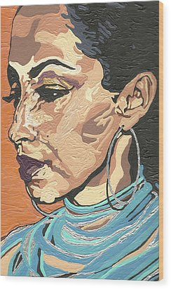 Wood Print featuring the painting Sade Adu by Rachel Natalie Rawlins