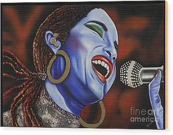 Sade In Concert Wood Print by Nannette Harris