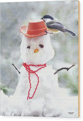Sadies Snowman Wood Print