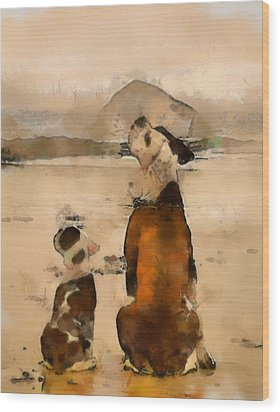 Wood Print featuring the painting Sadness  by Georgi Dimitrov