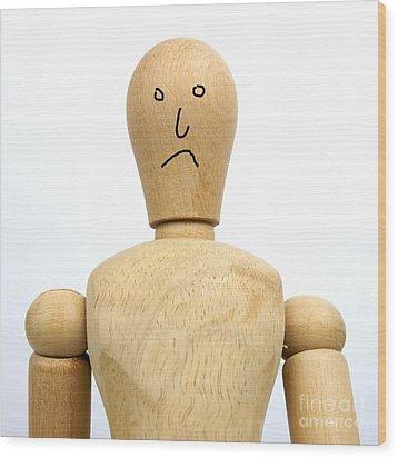 Sadness Wooden Figurine Wood Print by Bernard Jaubert