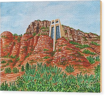 Sadona Church Wood Print by Val Miller