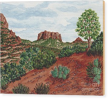 Sadona Two Mountains Wood Print by Val Miller