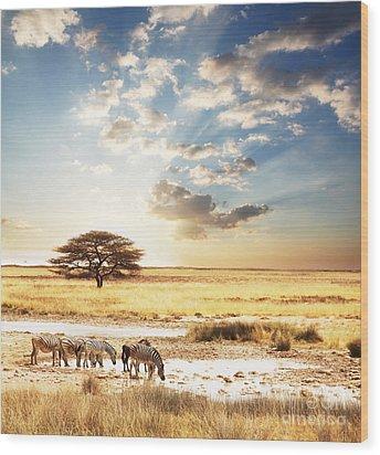 Safari Wood Print by Boon Mee