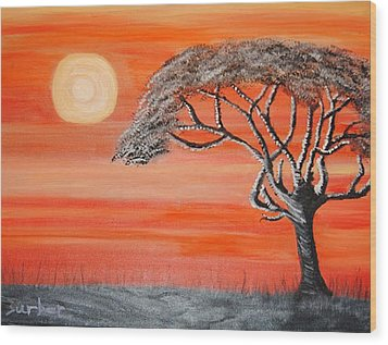 Safari Sunset 2 Wood Print