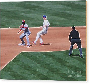 Safe At Second Base Wood Print by Terry Weaver