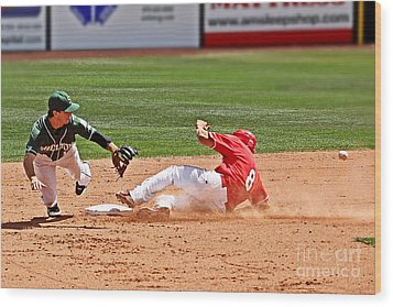 Safe At Second Wood Print