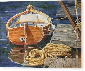 Wood Print featuring the painting Safe Mooring by Roger Rockefeller