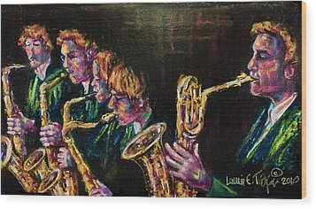 Safe Sax Wood Print by Laurie Tietjen