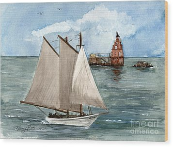Wood Print featuring the painting Safely Past The Shoal  by Nancy Patterson