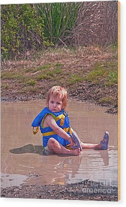 Safety Is Important - Toddler In Mudpuddle Art Prints Wood Print by Valerie Garner