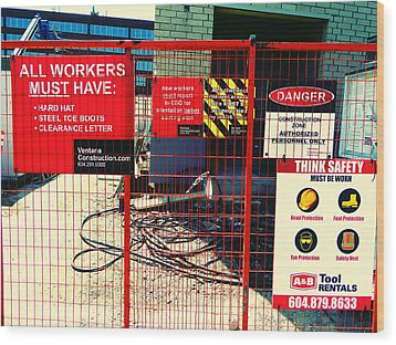 Wood Print featuring the photograph Safety Signs by Laurie Tsemak