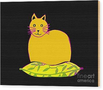 Saffron Cat On Black Wood Print