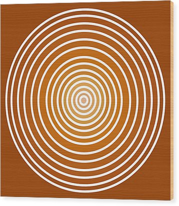 Saffron Colored Abstract Circles Wood Print by Frank Tschakert