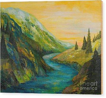 Saffron Sky Wood Print by Larry Martin