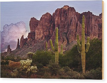 Saguaro Cactus And The Superstition Mountains Wood Print