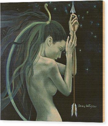 Sagittarius From Zodiac Series Wood Print by Dorina  Costras