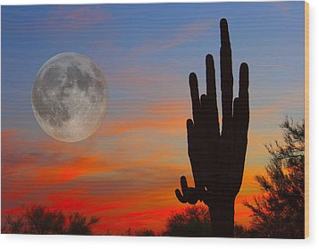 Saguaro Full Moon Sunset Wood Print by James BO  Insogna
