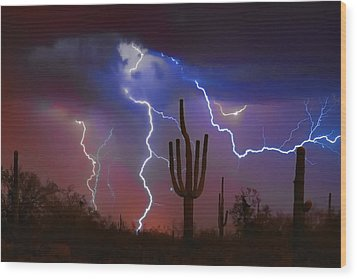 Saguaro Lightning Nature Fine Art Photograph Wood Print